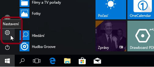 settings is in the start menu